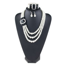 Wholesale Multiple Sets Earrings - MJARTORIA New Crystal Earrings And Bracelets Necklaces Fashion Imitation Pearls Multiple layers Women Jewelry Sets Accessories