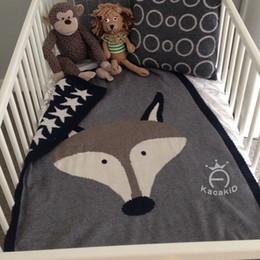 Wholesale Cute Quilts - Newborn baby blankets 80*120CM infant cute fox rabbit knitting cartoon bath towels kids soft wrap throw blanket sleeping mat R0130