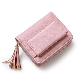 Wholesale Korea Coin Purses - Korea New Fashion Women Wallet Luxury Tassels PU Leather Card Wallet Short Zipper Soft Fashion Ladies Short Clutch Coin Purse Card Holder