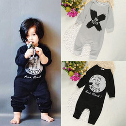 Wholesale Newborn Baby Sleeping Costume - Long Baby Rompers Baby Boys Clothes Newborn Jumpsuits Infant Clothing Overall Bebe Roupas 100% Cotton No Sleep Moon Costume Bodysuit