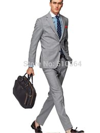 Wholesale Italian Wool Men Suit - Free shipping Italian high quality worsted 100% Wool suit Men Casual Business suit Two Buttons light Gray Suit (jacket+pants)