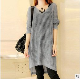 Wholesale Slim Dresses Korea - Wholesale-Long Sleeve Split Sweater Dresses 2016 Spring Newest Korea Fashion Slim Hollow Knitted Dress Pullovers Thin