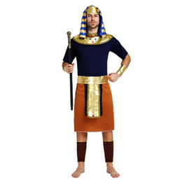 Wholesale Prince Adult Costume - Adults Ancient Egypt Costume King Queen Pharaoh Costume For Men Gold Prince Cosplay Props Halloween Carnival Dance Party Supplies