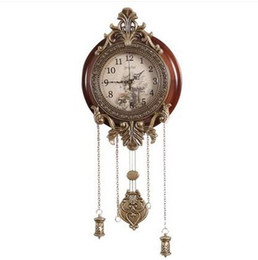 Wholesale Wall Clock Quartz Movement - relogio cuco clock pendulum mechanism Metal Art Antique Solid Wooden Wall Clock Silent Movement Pendulum Clocks Home Decor wall watch