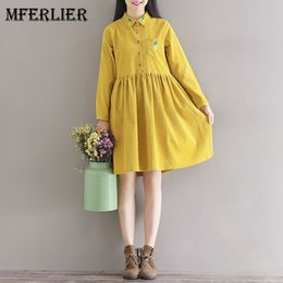 Wholesale Embroidered Long Sleeve Dress - Mori Girl Artsy Corduroy Autumn Dress Turn Down Collar Pineapple Embroidered Long Sleeve Waist Pleated A Line Dress