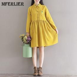 Wholesale Corduroy Dress Girls - Mori Girl Artsy Corduroy Autumn Dress Turn Down Collar Pineapple Embroidered Long Sleeve Waist Pleated A Line Dress