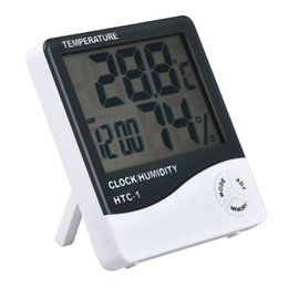 Wholesale Lcd Humidity - HTC-1 Electronic Temperature Clock LCD Digital Indoor Humidity Meter Daily Alarm And Calendar Display with 20pcs Retail Package