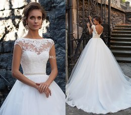 Wholesale Open Back White Dress Short - 2017 Princes Open Back Wedding Dresses 2017 Milla Nova Sheer Neckline Lace Appliques Cheap Vestios De Novia Bridal Gowns with Pearls Sash