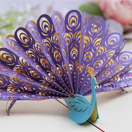3D Pop UP cartes de voeux creuse paon à la main Kirigami Origami Invitation carte postale pour anniversaire cadeau de fête de mariage DHL gratuit ? partir de fabricateur