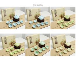 Wholesale Teapot Ceramic China - New Celadon 7pcs\set Relief fish tea sets 1 teapot 13*7.7cm with 6 cups 6.3*3cm Hand-painted bone china celadon fish tea sets