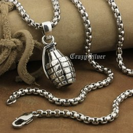 Wholesale Grenade Pendant Silver - LINSION 925 Sterling Silver Hand Grenade Pendant Mens Biker Punk Pendant 8A041 Stainless Steel Necklace 24 inches