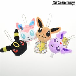 Wholesale Cellphone Plush - Wholesale-4style Eevee Plush Dolls Pendant Eevee Espeon Umbreon Sylveon Key Chain Baby Toys Cellphone chains 7cm