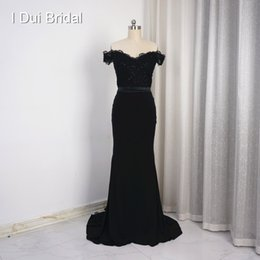 Wholesale Beading Materials - Mermaid Black Evening Dresses Off the Shoulder Lace Appliqued Beaded Spandex Material Sexy Illusion Back New