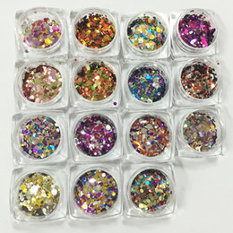 Wholesale Acrylic Red Nail Tips - Wholesale-1Pc Nail Art Glitter Round Shapes Sequins Acrylic Tips UV Gel 16 Color For Choose