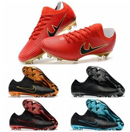 Wholesale Spikes Shoes For Men - 2018 original Flykint Ultra FG soccer shoes mens Low Mercurial Vapor XI soccer cleats for men Superfly leather fg football boots cheap gold