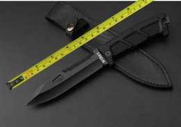 Wholesale Bowie Knives Fixed Blades - Free shipping 11''New 7Cr17Mov Blade G10 Handle Back Serrated Survival Fixed Bowie Hunting Knife D25
