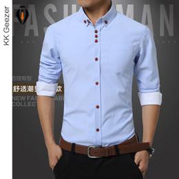 Wholesale Men S Work - Wholesale- Shirts Men Long Sleeve Casual Cotton Dress Shirts Work Wear Plus Size Famous Brand New Fashion 2016 Summer Bussiness Slim Fit