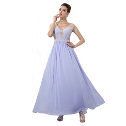 Wholesale Modern Dancing Pictures - Latest Attractive V-neck Lavender Chiffon Ladies Birthday Party Dress Ankle Length Dancing Evening Dress Transparent Back Side
