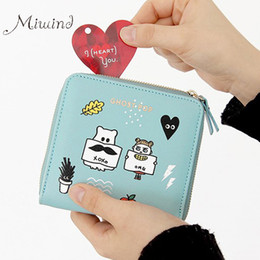 2017 fille chat vintage Vente en gros - 2016 Coréenne Vintage Cute Anime Cat Femmes en cuir Slim Mini Wallet Girl Small Purse Femme Coin Credit Card Holder Dollar Price abordable fille chat vintage