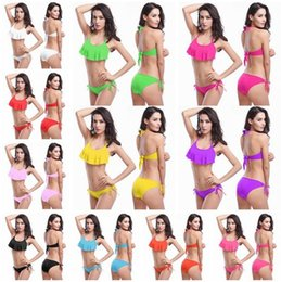 Wholesale Sexy Thong Swim Wear - 2017 Sexy Off Shoulder Ruffled Lace Suspenders Bandeau Thong Biquini Strappy Swimsuit Swim Wear Bathing Suit Swimwear Women Brazilian Bikini