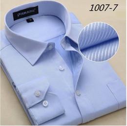2019 мужские рубашки оптом Wholesale- Big Size 4XL 5XL 6XL Fashion White Collar Striped Men Shirts  Design Chemise Homme High Quality Cotton Business Dress Shirt дешево мужские рубашки оптом