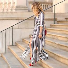 Wholesale Maxi Dress Belt White - Sexy Elegant Women Dress Long Maxi White Black Striped Dress Turn Down Collar Slim Belted Office Work Formal Dress