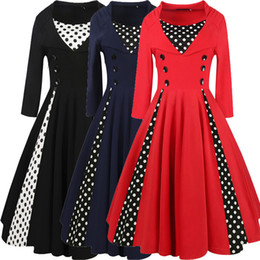 Wholesale Party Wear Dresses Midi - 50s Style Vintage Swing Dress Women Summer Polka Dot Pattern Button Patchwork A Line Dress Midi Party Dresses