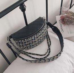 Wholesale White Crochet Pillow - 5pcs 2017 New line CrochetShoulder bags Women PU oval Fashion Chain Waist Bags Ladies White Black Crossbody bags