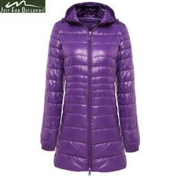 Wholesale Long Warm Ladies Coats - 2017 New Brand Ladies Long Winter Warm Coat Women Ultra Light 90% White Duck Down Jacket Women's Hooded Parka Female Jackets