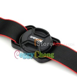 Wholesale Lens Cap Buckle - Wholesale- 62mm Lens cover Holder prevent lost button anti lost strap buckle +62mm Nik0n Lens cap With tracking Number