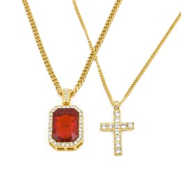 Wholesale Cross Necklace Black Crystals - Hip Hop Men Jewelry Set Fashion Gold Plated Iced Out Rhinestone Square Red Crystal Pendant With Jesus Cross Necklace Set