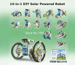 Wholesale Diy Boat For Kid - Wholesale-New 14-in-1 Solar Robot Kit Educational Solar Power Robot DIY Toy Assembled Toys For Kids Car Boat Animal DIY Robot