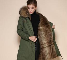 Wholesale Coat Woman Fur Inside - New Mr Mrs furs long coats with ykk zipper brown fur Mr Mrs itlay rabbit fur inside canvas army green jackets USA Sweden
