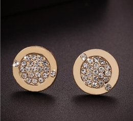 Wholesale Fashion Jewelry Stud Earrings - New York Fashion Logo Pave Tone Stud Earrings High quality crystal round Earings fashion brand Wedding jewelry for women girls