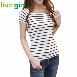 Wholesale Ladies Striped Tees - Wholesale- Summer Striped T shirt Women Fashion Lady Slim Short Sleeve Tshirt Casual Female T-shirt Girl Top Tee Pullovers Jumpers Dec29