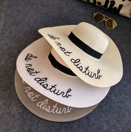 Wholesale Hottest Women Beach - Hot sale wide Brim sun hats for women Letter Embroidery straw Hats girls Do Not Disturb Ladies Straw hats lady sun hat