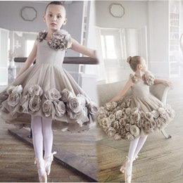 Wholesale Yellow Rose 3d - 2017 Grey Flower Girl Dresses for Weddings 3d Rose Flowers Ball Gown Pageant Dresses First Communion Dress Little Girls Formal Dress SF018