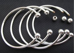 Wholesale Sterling Silver Screw Beads - 925 Sterling Silver Fill Open Women Cuff Bangle 65MM 70MM Size Fit European Beads Charm Bracelet Brand Screw Bangles