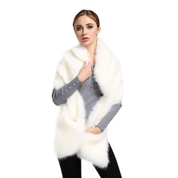 Wholesale White Pashmina Faux Fur - Top Quality! New Fashion Hot Sell Winter Ladies Faux Fox Fur White Shawl Scarf Women's Warm Wrap Stole Scarves DM#6