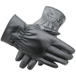 Wholesale Soft Leather Driving Gloves - Wholesale- HOT SALE!UK Women Winter Thermal Lined Driving Smart Warm Soft Leather Gloves Button Fasten