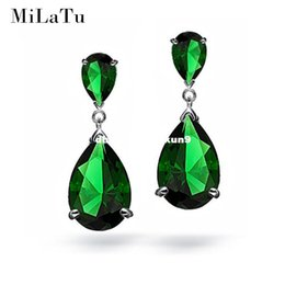 Wholesale Angelina Jolie Earrings - MiLaTu Green Zirconia Drop Earrings For Women Angelina Jolie Water Drop Pending Earrings Women Wedding Jewlery Gift E008TJ