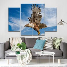 Wholesale Eagle Sky - The Eagle In The Sky Frameless Paintings 4pcs (No Frame) Printd on Canvas Home Wall Art HD Print Painting
