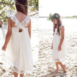 Wholesale Chiffon Tea Length Casual Dresses - New 2017 Ivory Chiffon Tea Length Boho Beach Country Flower Girl Dresses For Weddings Cheap Square Lace Girls Casual Dress Custom