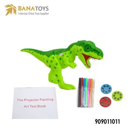 Wholesale Play Dinosaurs - 2in1 Electronic Educational Kid Intelligent Child's Play Dinosaur Toy Projector Painting Toy Cultivate the Kids Art Cells Children Gifts