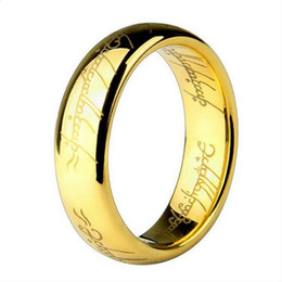 Wholesale Wholesale Titanium Women Wedding Bands - 6MM Men's Finger Rings The Lord One Steel Ring Gold Women and Men Fashion Ring Wedding Wholesale Free Drop ship