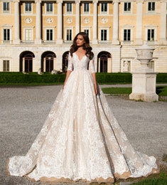 Wholesale splendid ball gown lace wedding gowns Milla Nova bridal dresses short sleeves open back chapel train