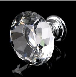 Wholesale Furniture Shapes - 10pcs 30mm Diamond Shape Crystal Glass Furniture Handles Hardware Drawer Wardrobe Kitchen Cabinets Cupboard Door Pull Knobs