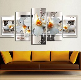 Wholesale painting wall orange - 5pcs set Unframed Orange Flower Core Wall Art Oil Painting On Canvas Textured Abstract Paintings Pictures Decor Living Room Decor
