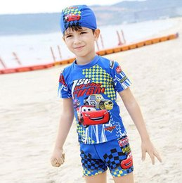 Wholesale Boys Swim Pants - Car printed swimsuit boys 3pieces with swimming cap short sleeves pants for little boy children red car printed blue swim suit