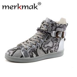 Wholesale Boots Metal Chain Flat - Wholesale- Merkmak Fashion Brand Men Street Dance Shoes High Top Metal Chain Zipper Design Luxury Flat Shoes Casual Shoes Ankle Boots Male